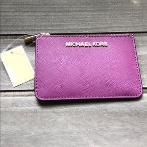Michael Kors Crossgrain Leather Magenta Card Case